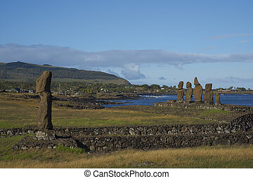 Moai statues, Easter Island, Chile - Ahu Tahai. Ancient Moai...