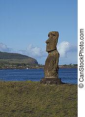 Moai statue, Easter Island, Chile - Hanja Kio. Ancient Moai...