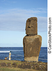 Moai statue, Easter Island, Chile - Weathered Moai statue on...