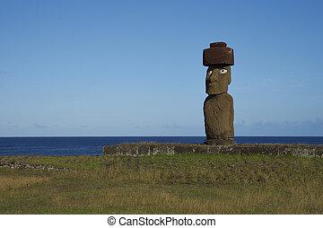 Moai statue, Easter Island, Chile - Ahu Tahai. Ancient Moai...