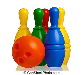 Toy bowling isolated - Colorful plastic skittles of toy...