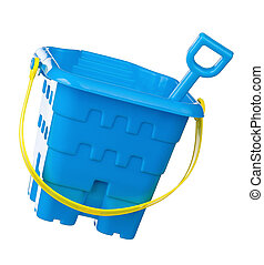 Toy bucket and spade isolated on white background
