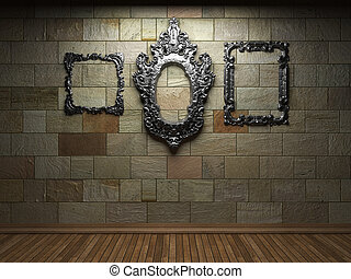 illuminated stone wall and frame - illuminated stone wall...