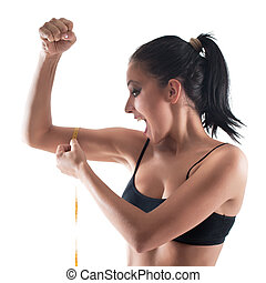 Woman bicep - Young girl measuring tape around womans bicep