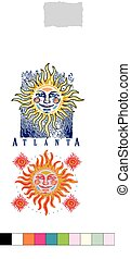 Sun Face - artistic rendering of sun in two color ways and...