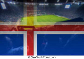euro 2016 stadium with blending Iceland flag