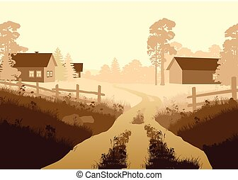 Vector illustration of a beautiful village - Vector...