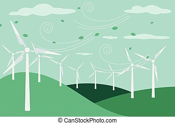 Landscape with electric windmill - Landscape with electric...