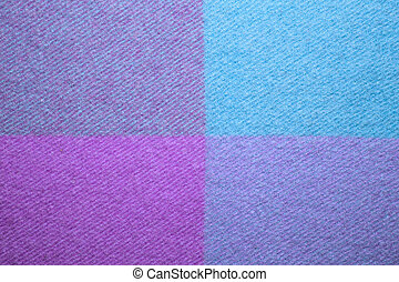 Blue and violet wool plaid texture macro shot - Soft and...