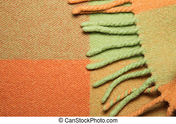 Soft and warm folded alpaca wool blanket with fringe. Green...