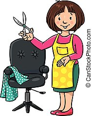 Funny hairdresser or barber. Profession ABC series -...