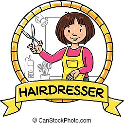 Funny hairdresser. Emblem. Profession ABC series - Emblem of...