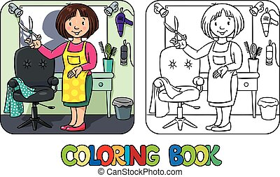 Funny hairdresseror barber. Coloring book - Coloring book of...