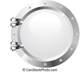 Porthole - Vector realistic metalic porthole on white...