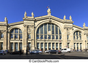 Gare du Nord Paris - Facade of train station Gare du Nord in...