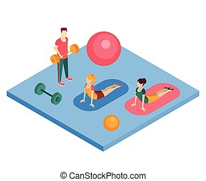 People Working Out In Gym Primitive Bright Colors 3d Design...