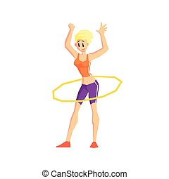 Girl With Hula Hoop Vector Illustration - Girl With Hula...