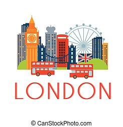 London Classic Toristic Scenery Flat Colorful Cartoon Style...