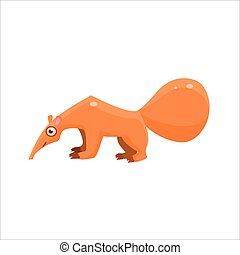 Anteater From The Side Flat Vector Illustration In Primitive...