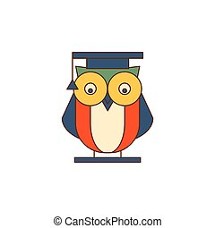 Owl in Mantle Logo - Owl in Mantle Flat Outlined Vector...