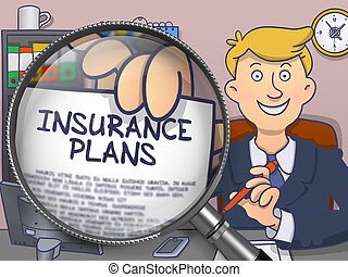 Insurance Plans through Magnifying Glass Doodle Design -...