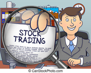 Stock Trading through Magnifying Glass Doodle Style -...