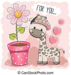 Cartoon Giraffe with a flower