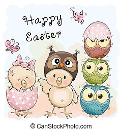 Two chicks and Owls - Greeting Easter card Two Chicks and...