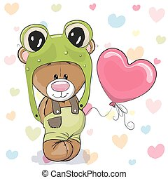 Bear with Balloon - Cute Cartoon Teddy Bear in a frog hat...