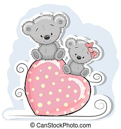 Two Cute Bears - Two Bears is sitting on a heart on a blue...