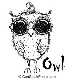 Cute Cartoon Owl - Cute cartoon black and white owl in...