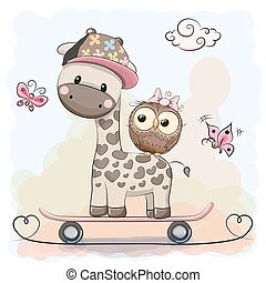 Giraffe and owl - Cute Giraffe and owl on a skateboard
