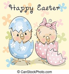 Two hatched chicks - Greeting Easter card Two hatched chicks...