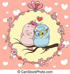 Greeting card with Two cute Cartoon Birds