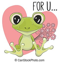 Froggy with flowers - Valentine card Cute Cartoon froggy...