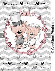 Teddy Bride and Teddy groom - Greeting card Teddy Bride and...