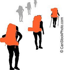 Vector Backpacker - Group of backpackers hiking Vector...