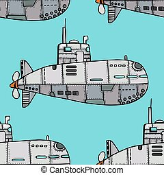Doodle Sketch Submarine - Seamless pattern of Colored old...