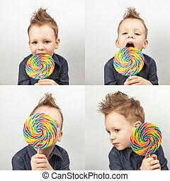 fotos,  collage, grande, dulce, cuatro, Plano de fondo, blanco, feliz, niño