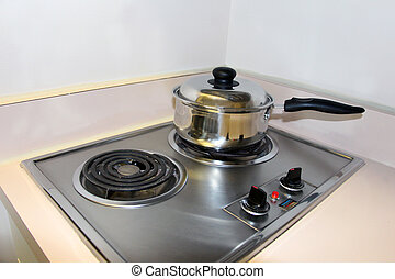 An electric stove top - Cooking on the mini electric stove...