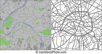 Paris - Illustration city map of Paris in vector.