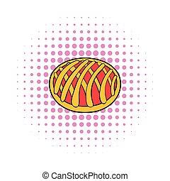 Cherry pie icon, comics style - Cherry pie icon in comics...