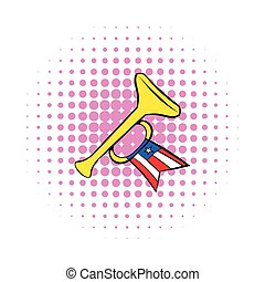 Trumpet with USA flag icon, comics style