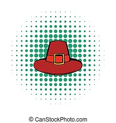 Pilgrim hat icon, comics style - Pilgrim hat icon in comics...