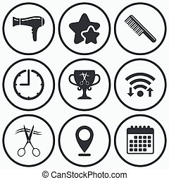 Hairdresser icons Scissors cut hair symbol - Clock, wifi and...