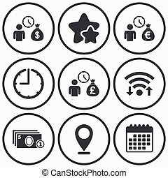 Bank loans icons Cash money symbols - Clock, wifi and stars...