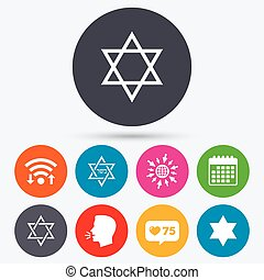 Star of David icons Symbol of Israel - Wifi, like counter...