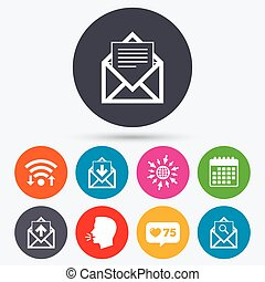 Mail envelope icons. Message document symbols. - Wifi, like...