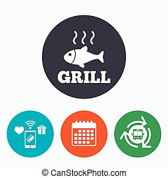 Fish grill hot icon Cook or fry fish symbol - Fish grill hot...