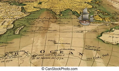 Cartoon sailing ship on ancient map - Cartoon old sailing...